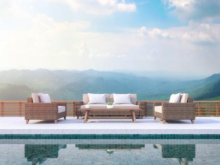 Terrasse de piscine contemporaine avec rendu 3d vue montagne. Il y a des carreaux de piscine verts. Meublé avec des meubles en rotin. Il y a une balustrade en bois donnant sur la montagne.