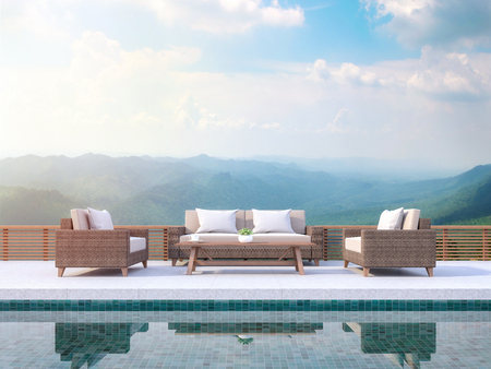 Contemporary pool terrace with mountain view 3d render. There are green pool tile.Furnished with rattan furniture. There are wooden railing overlooking  mountain view.