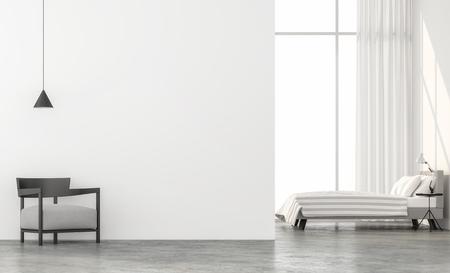 Camera da letto in stile minimal rendering 3d.Ci sono pavimento in cemento, muro bianco.Rifinita con mobili in tessuto grigio chiaro, la camera ha grandi finestre. Guardando fuori per vedere il paesaggio fuori.