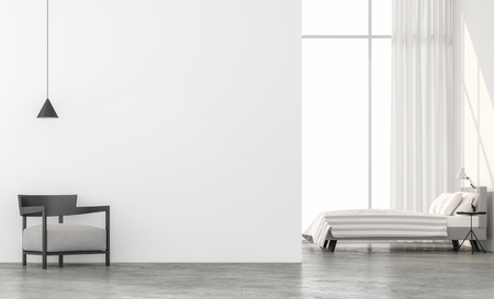 Minimal style bedroom 3d render.There are concrete floor,white wall.Finished with light gray fabric furniture,The room has large windows. Looking out to see the scenery outside.