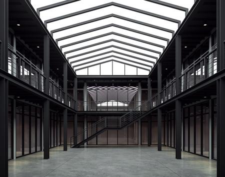 Rendering 3d di spazi per uffici in stile loft. Ci sono interni di un edificio a 2 piani realizzato con struttura in acciaio nero. E c'è luce naturale dal lucernario sopra.