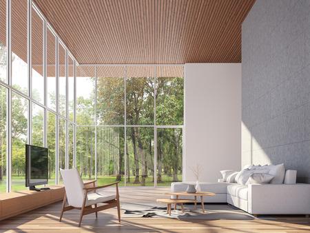 Tropenhaus Wohnzimmer 3d rendern. Die Zimmer haben Holzböden und Decke, Betonfliesenwand. Möbliert mit weißen Stoffmöbeln. Es gibt große Fenster. Mit Blick auf den Garten.