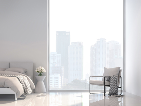 Minimal white bedroom with city view 3d render, Decorate with white fabric furniture ,The room has large windows,Sunlight shines into the room.