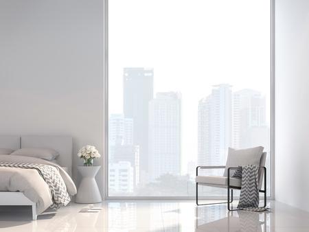 Minimales weißes Schlafzimmer mit 3D-Rendering mit Blick auf die Stadt. Mit weißen Stoffmöbeln dekorieren. Das Zimmer hat große Fenster. Sonnenlicht scheint in den Raum. Standard-Bild