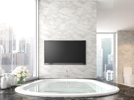 Baño de lujo con vista a la ciudad de render 3d, hay piso de mármol negro y pared de mármol blanco. La habitación tiene una pantalla de tv vacía con trazado de recorte.