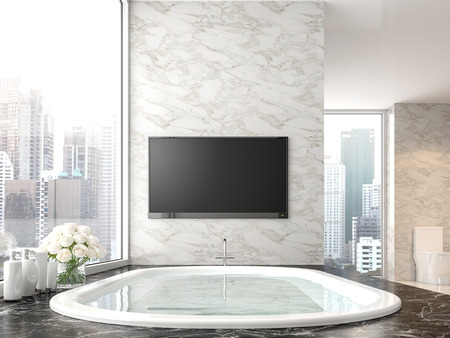 Luxury bathroom with city view 3d render,There are black marble floor and white marble wall.The room has empty tv screen with clipping path.