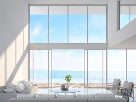 Modern wit huis interieur met uitzicht op zee 3d render, ingericht met witte stoffen meubels. Er is een grote open schuifdeur met uitzicht op terras, zwembad en uitzicht op zee. Stockfoto