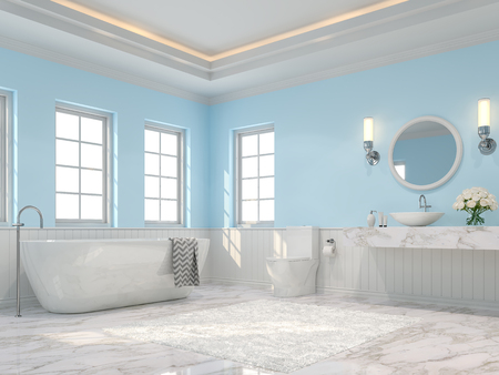 Luxury bathroom 3d render,There are white marble floor, light blue wall and ceiling hiding orange light,Decorate with white carpet and flower,The room has more windows. Sunlight shining into the room