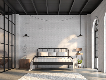 Industrial loft bedroom 3d render,There are white brick wall,polished concrete floor and black wood ceiling.Furnished with black steel bed ,There are arch shape windows sunlight shining into the room. Фото со стока