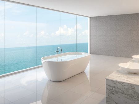 Minimal loft bathroom 3d render,There are white floor,concrete tile walll and round bathtub,There are large frameless glass window overlooking to full sea view.