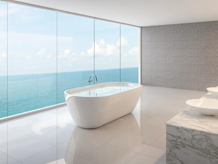Minimales Loft-Badezimmer 3D-Rendering, Es gibt weißen Boden, Betonfliesenwände und runde Badewanne, Es gibt ein großes rahmenloses Glasfenster mit Blick auf den vollen Meerblick.