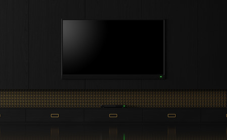 Luxury empty tv screen with black and glod 3d render,There are black wood wall, Decorate wall with golden ring pattern.There have clipping path on television screen.