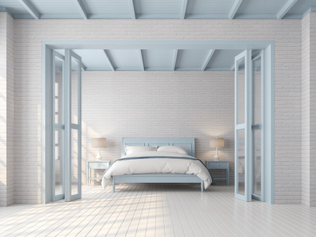 Vintage bedroom 3d render,There are white brick pattern wall,wood plank floor,blue pastel color furniture,door and ceiling,The room has sunlight shining through to inside.