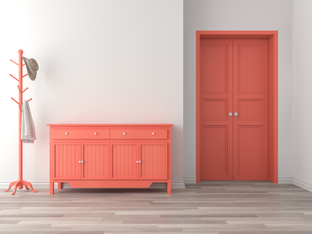 Intérieur du hall d'entrée de la salle vide avec rendu 3d du concept de couleur corail, il y a du parquet, un mur blanc, une armoire vide orange et une porte.