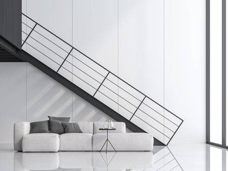 Soggiorno minimo 3d con soffitto alto. Ci sono pavimento e parete bianchi, scala in acciaio nero e soppalco. Rifinito con divano bianco, la stanza ha grandi finestre. La luce naturale risplende all'interno. Archivio Fotografico