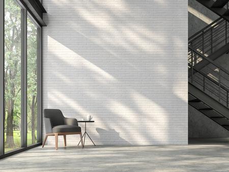 Rendu 3d du hall d'escalier de style loft, il y a un mur de briques blanches, un sol en béton poli et un escalier en structure d'acier noir, il y a de grandes fenêtres donnant sur la nature, la lumière du soleil brille dans la pièce.