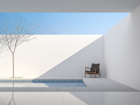 Minimale weiße Poolvilla im 3D-Render, Blick vom Wohnzimmer auf die Poolterrasse, grauer Fliesenboden, dekoriert mit dunkelbraunem Ledersessel, helles Sonnenlicht, das ins Innere scheint. Standard-Bild