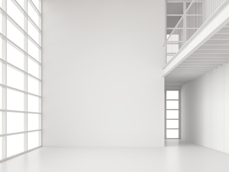 Modern white space interior with large window 3d render