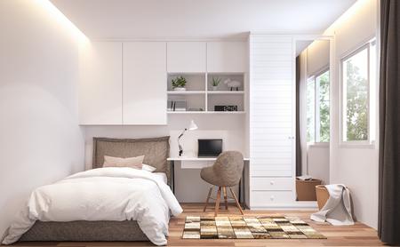 Rendering 3d della camera da letto per adolescenti, pavimento in legno e pareti bianche. Arredate con letto marrone e armadietto bianco. Ci sono finestre con cornice bianca che si affacciano sulla vista della natura.