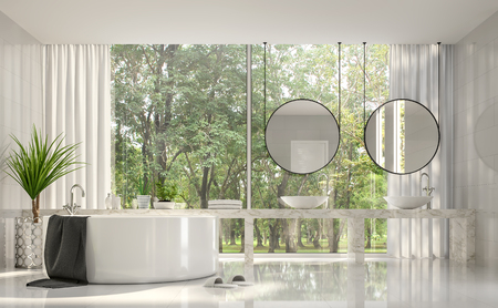 Modern luxury bathroom 3d render,There are white room,white marble basin counter,decorate with stainless tree pot.There are big windows look out to see nature view outside.