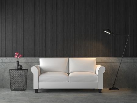 Render 3d de sala de estar estilo loft, hay paredes y pisos de concreto pulido, amueblado con sofá blanco, decoración con lámpara de estilo industrial. Foto de archivo