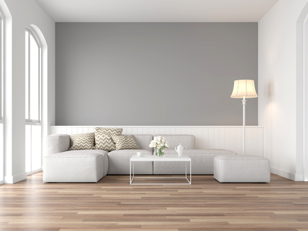 Minimal style vintage living room 3d render,There are wood floor and gray wall,Furnished with white fabric sofa ,There are arch shape window nature light shining into the room.