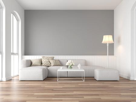 Minimalistisches Vintage-Wohnzimmer 3D-Rendering, Es gibt Holzboden und graue Wand, Ausgestattet mit weißem Stoffsofa, Es gibt bogenförmiges Fenster, das Naturlicht in den Raum scheint.