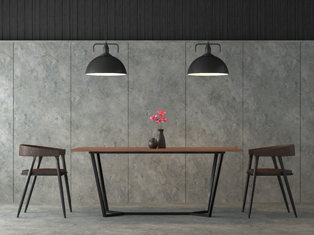 Modern loft dining room 3d render,There are polished concrete wall and floor,Furnished with black steel and wood furniture,Decorate with industrial style lamp. 版權商用圖片