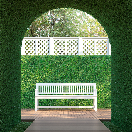 Ivy tunnel 3d render,  There is a curved shape tunnel with a wooden walkway,white lattice fence,furnished with white wood bench. Stok Fotoğraf