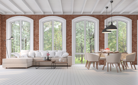 Scandinavian living and dining room 3d render,There are wood plank floor,red brick wall ,Furnished with brown fabric furniture,There are arch shape window looking out to the natural view.