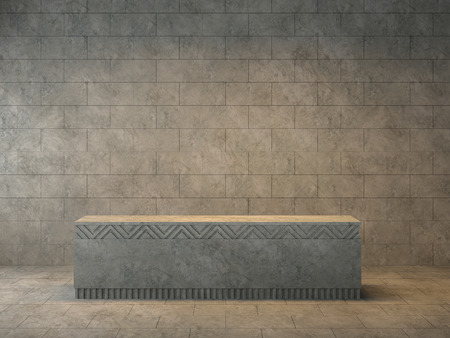 Loft room with empty concrete podium 3d render,The room has concrete tile floor and wall ,Decorated with decorative patterns of concrete,There are warm light shining down to podium. Stok Fotoğraf