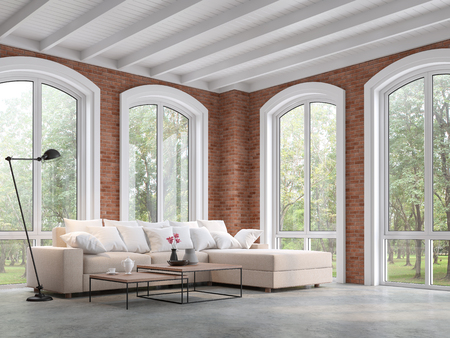 Loft style living room 3d render,There are concrete floor,red brick wall and white wooden ceiling,Furnished with brown fabric sofa,There are arch shape window looking out to the natural view.