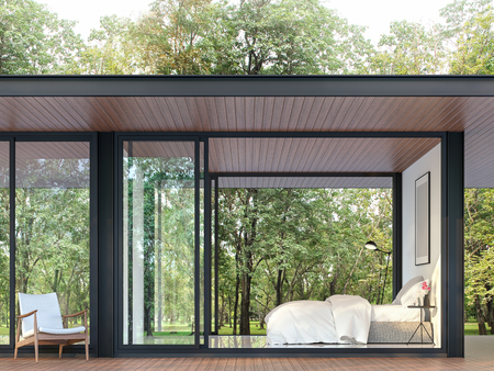 Modern bedroom in glass house 3d render, There are black steel structure,wooden floor and ceiling,decorated with white furniture,surrounded by a large green garden.