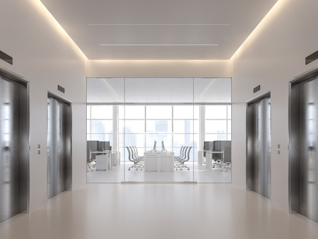 Elevator hall in front of modern office 3d render,with white floor, stainless steel elevator door, white ceiling with hidden warm lighting, with large windows overlooking the city