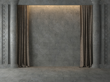 Empty Ancient wall with brown curtain 3d render.The room has concrete tile floor and wall ,Decorated with decorative patterns of concrete,There are warm light shining down to the wall.