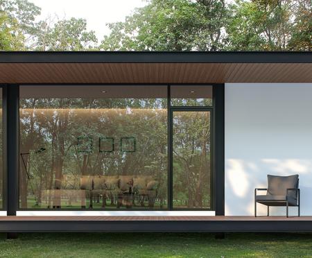 Außenansicht der modernen Hausterrasse im Garten 3D-Rendering, Es gibt Holzböden und -decken, Es gibt ein großes Glasfenster mit einer Reflexion der umliegenden Natur.