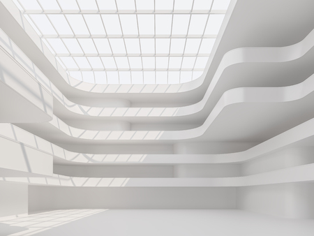 Modern white space building hall  interior 3d renderr,Is a large and tall hall with a skylight roof above the sunlight to come inside.