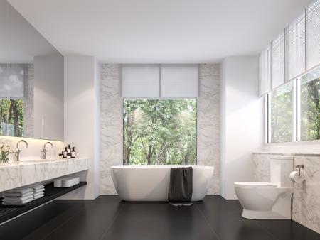 Lujoso cuarto de baño con vistas naturales en 3D. La habitación tiene pisos de baldosas negras, paredes de mármol blanco. Hay grandes ventanales con luz solar que entra en la habitación.