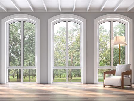 Modern classic living room with nature view 3d render.The Rooms have wooden floors and white wood ceilings.Decorated with white fabric chair,There are arch shape window sunlight shining into the room. Фото со стока
