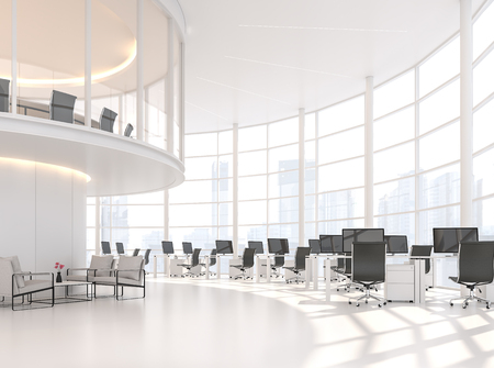 Moderno ufficio bianco curva 3d render.È un ufficio dal soffitto alto con un'area di lavoro al piano inferiore Sala riunioni al piano rialzato C'è una grande finestra che guarda la vista della città. Archivio Fotografico