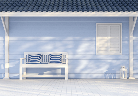 Empty exterior wall 3d render,There are blue wood plank wall, white window and poles ,Decorate with white bench,Sunlight shining to the wall with tree shadow.
