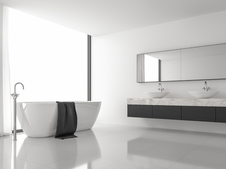 Minimal style image modern bathroom 3d render.There are white floor and wall, black wood and white marble sink counter,The room has large windows. Natural light shines inside.