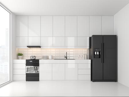 Küche im minimalistischen Stil 3D-Rendering. Es gibt weiße Böden und Wände, glänzende weiße Schranktüren, einen schwarzen Kühlschrank und einen schwarzen Backofen. Das Zimmer hat große Fenster. Schauen Sie auf die Stadtansicht.
