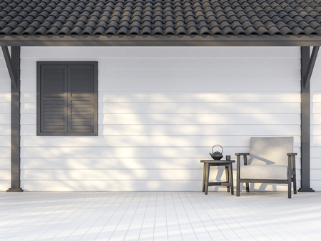 Black and white exterior wall 3d render,There are white wood plank wall,darkgray window, poles and roof ,Decorate with white fabric chair,Sunlight shining to the wall with tree shadow.