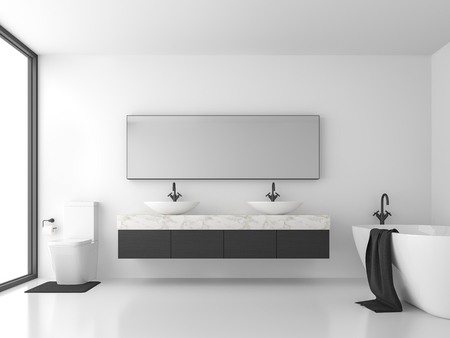 Minimal style bathroom with black and white 3d render.There are white floor and wall, black wood and white marble sink counter,The room has large windows. Natural light shines inside.