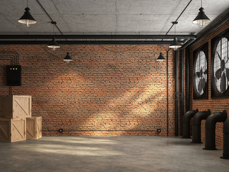 Loft space empty room 3d render,There are orange brick wall. With concrete floor and ceiling The wall has a large black ventilation fan. At the ceiling, there are plumbing pipes and wires Фото со стока