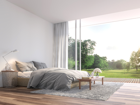 Modern bedroom 3d render.The Rooms have wooden floors ,decorate with gray fabric bed,There are large open sliding doors, Overlooks wooden terrace and big garden. 免版税图像 - 123877433