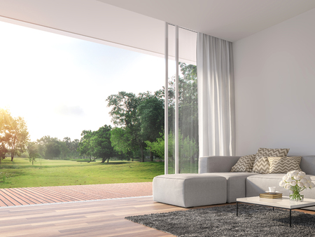 Modern living room 3d render.The Rooms have wooden floors ,decorate with white fabric  sofa,There are large open sliding doors, Overlooks wooden terrace and big garden. Archivio Fotografico