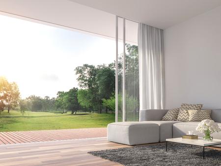 Modernes Wohnzimmer 3D-Rendering. Die Zimmer haben Holzböden, dekorieren mit weißem Stoffsofa, Es gibt große offene Schiebetüren, Blick auf die Holzterrasse und den großen Garten.