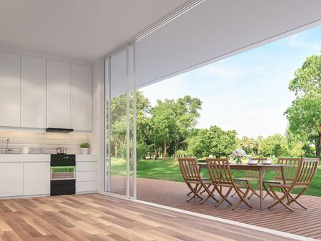 Outdoor dining table on the balcony 3d render.Rooms have wooden floors, decorated with wooden furniture and a white kitchen counter with large open doors. Overlooking the big garden.